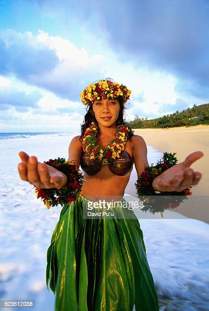 hula dancer beckoning - lahaina stock pictures, royalty-free photos & images