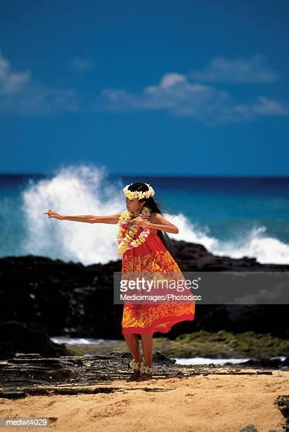 Hula dancer on a beach on Oahu, Hawaii