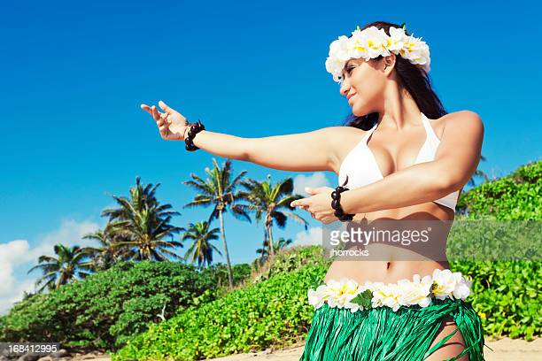 hula dancer on beach - beautiful polynesian women stock photos and pictures