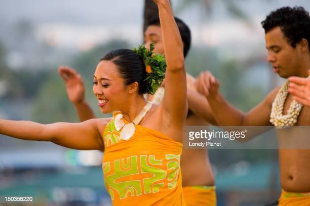 Hula dancers at the luau at King Kamehameha's Kona Beach Hotel, Kamekahonu Beach, Kailua Kona.
