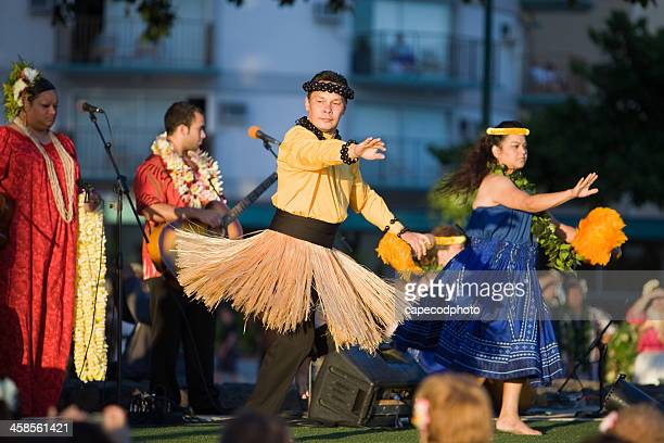 hula dancers demonstration - hula dancer stock pictures, royalty-free photos & images