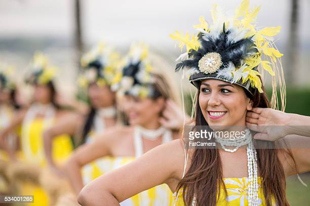 hula dancers from a hawaiian halau - hula dancer stock pictures, royalty-free photos & images
