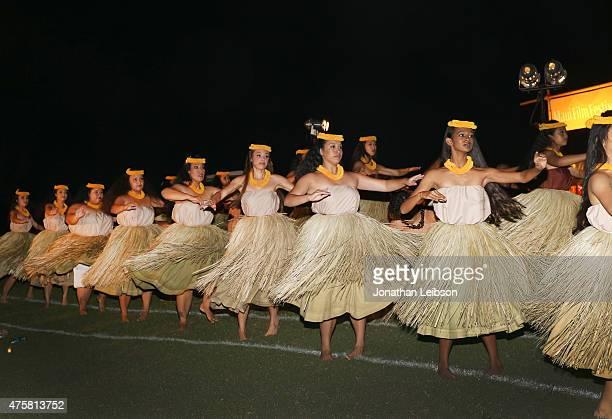 Hula dancers perform at the 2015 Maui Film Festival Rising Star Award Presentation during the 2015 Maui Film Festival at Celestial Cinema on June 3...
