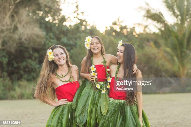 hula rehearsal! - hawaiian lei stock pictures, royalty-free photos & images