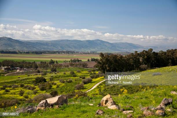 Hula Valley from Golan Heights in spring
