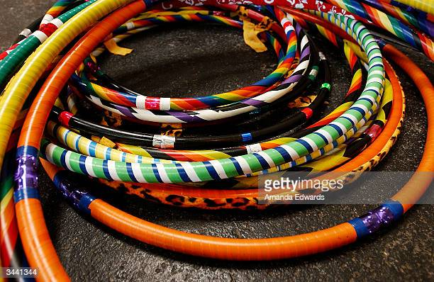 Hulahoops on display at Step Up Women's Network's Third Annual 'Step Up For Yoga and Health' charity festival at Bergamont Station April 17 2004 in...