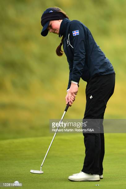 Hulda Clara Gestdottir of Iceland putts during Strokeplay on Day One of The Women's Amateur Championship at The West Lancashire Golf Club on August...