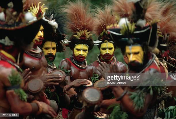 Huli Men Drumming at Sing-Sing Celebration