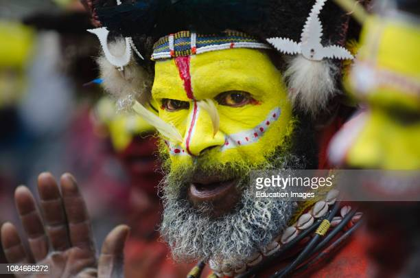 Huli Wigmen from the Tari Valley at a Singsing Mt Hagen Southern Highlands Papua New Guinea Wearing bird of paradise feathers and plumes particularly...