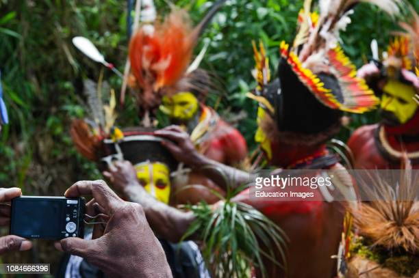 Huli Wigmen from the Tari Valley in the Southern Highlands at a Singsing Mt Hagen Papua New Guinea Wearing bird of paradise feathers and plumes...