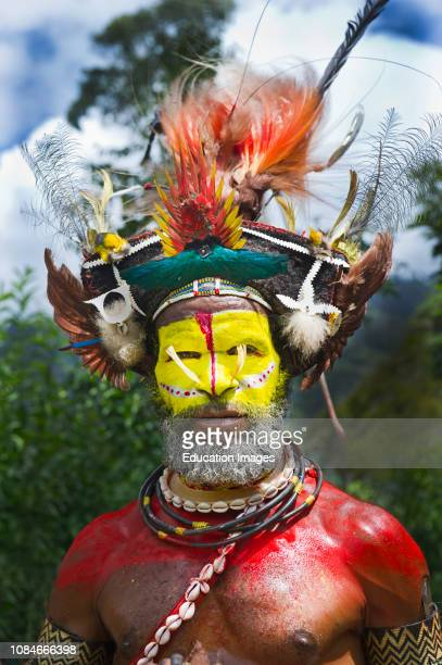 Huli Wigmen from the Tari Valley in the Southern Highlands at a Singsing Mt Hagen wearing bird of paradise feathers and plumes particularly Raggiana...