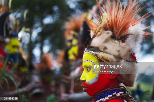 Huli Wigmen from the Tari Valley in the Southern Highlands of Papua New Guinea at a Singsing Mt Hagen Wearing bird of paradise feathers and plumes...