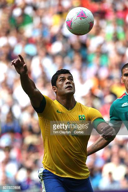 Hulk Brazil in action during the Brazil V Mexico Gold Medal Men's Football match at Wembley Stadium during the London 2012 Olympic games London UK...