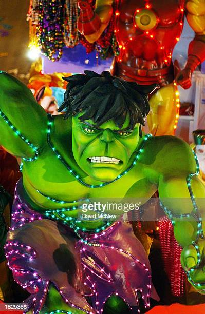 Hulk float moves through the Bacchus parade as Mardi Gras goers countdown to Fat Tuesday on March 2 2003 in New Orleans Louisiana Fat Tuesday is the...