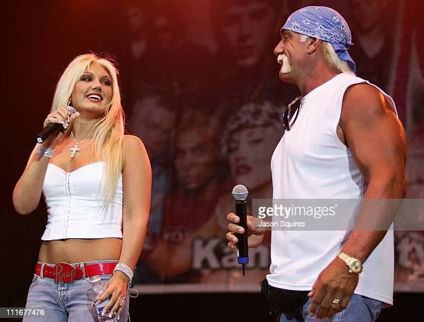 Hulk Hogan and daughter Brooke Hogan during KMXV's Red White and Boom at Verizon Wireless Amphitheater in Bonner Springs Kansas United States