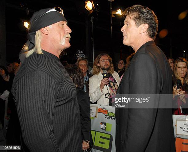 Hulk Hogan and David Hasselhoff during VH1 Big in '06 Red Carpet at Sony Studios in Culver City California United States