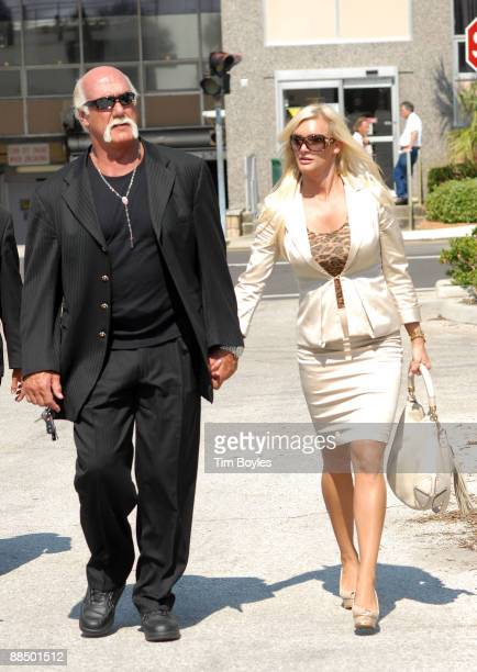 Hulk Hogan and his girlfriend Jennifer McDaniel leave the courthouse after the divorce hearing between Hulk Hogan and his estranged wife Linda on...