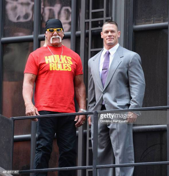 Hulk Hogan and John Cena attend the WrestleMania 30 press conference at the Hard Rock Cafe New York on April 1 2014 in New York City