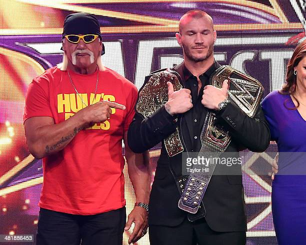 Hulk Hogan and Randy Orton attend the WrestleMania 30 press conference at the Hard Rock Cafe New York on April 1 2014 in New York City