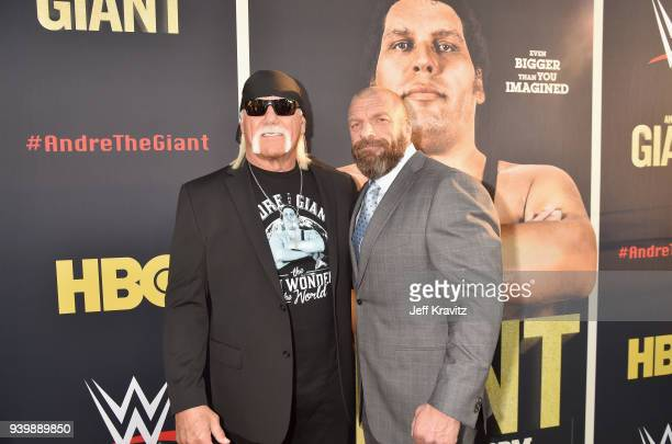 Hulk Hogan and Triple H attend the Los Angeles Premiere of Andre The Giant from HBO Documentaries on March 29 2018 in Los Angeles California