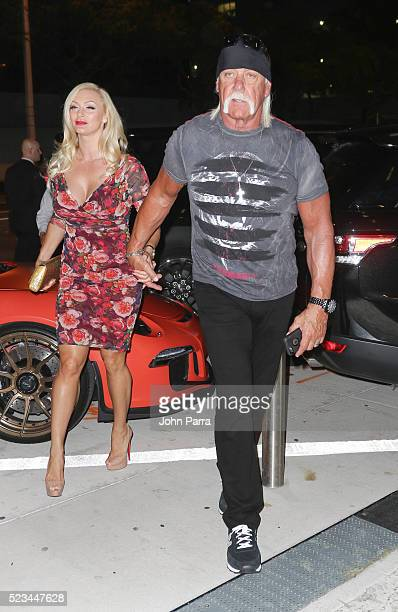 Hulk Hogan and wife Jennifer McDaniel arrive at Komodo restaurant to celebrate nightclub owner David Grutman's wedding>> on April 22 2016 in Miami...