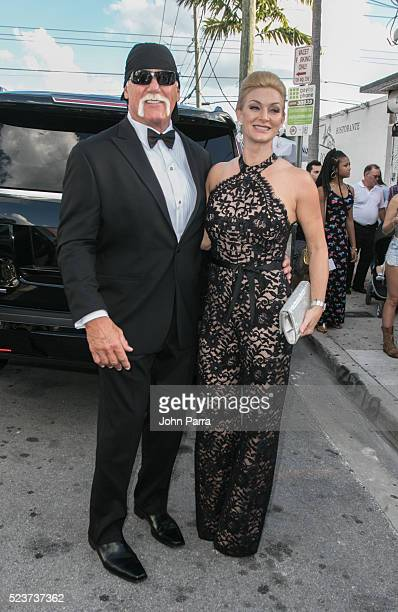 Hulk Hogan and wife Jennifer McDaniel attend David Grutman's and model Isabela Rangel wedding in Wynwood Wall on April 23 2016 in Miami Florida