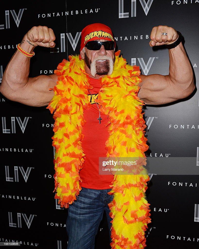 Hulk Hogan arrives at Kim Kardashian's Halloween party at LIV nightclub at Fontainebleau Miami on October 31, 2012 in Miami Beach, Florida.
