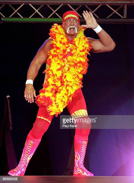 Hulk Hogan enters the stage prior to his bout against Ric Flair during the Hulkamania Tour at the Burswood Dome on November 24 2009 in Perth Australia