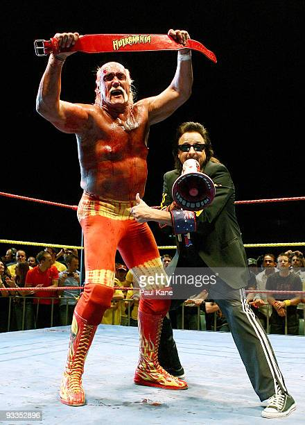 Hulk Hogan gestures to the audience after defeating Ric Flair during his Hulkamania Tour at the Burswood Dome on November 24 2009 in Perth Australia