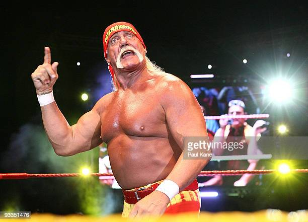 Hulk Hogan gestures to the audience during his Hulkamania Tour at the Burswood Dome on November 24 2009 in Perth Australia