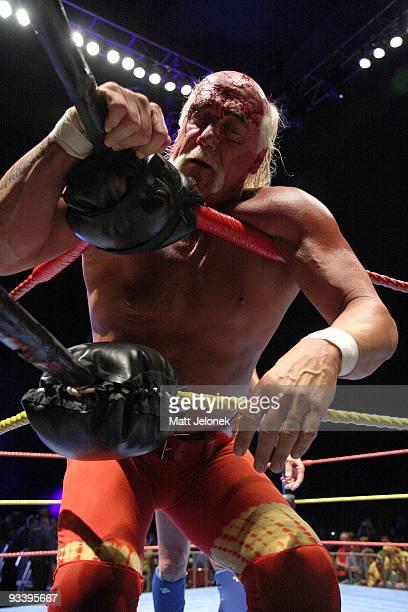 Hulk Hogan in action during his Hulkamania Tour at the Burswood Dome on November 24, 2009 in Perth, Australia.