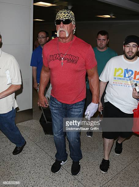 Hulk Hogan is seen at Logan International Airport in Boston MA on June 01 2013 in Boston Massachusetts