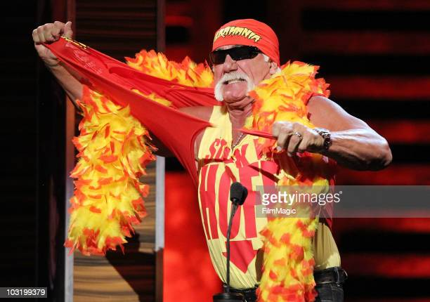 Hulk Hogan performs onstage at Comedy Central's Roast of David Hasselhoff held at Sony Pictures Studios on August 1, 2010 in Culver City, California.