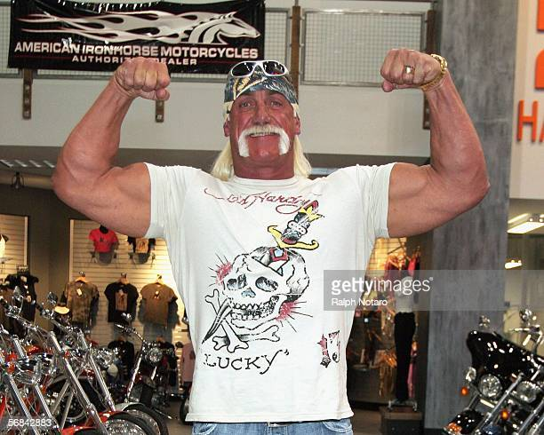 Hulk Hogan poses for photos inside Hollywood Choppers in the Seminole Hard Rock Hotel and Casino on February 13, 2006 in Hollywood, Florida.