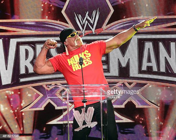 Hulk Hogan speaks during the WrestleMania 30 press conference at the Hard Rock Cafe New York on April 1 2014 in New York City