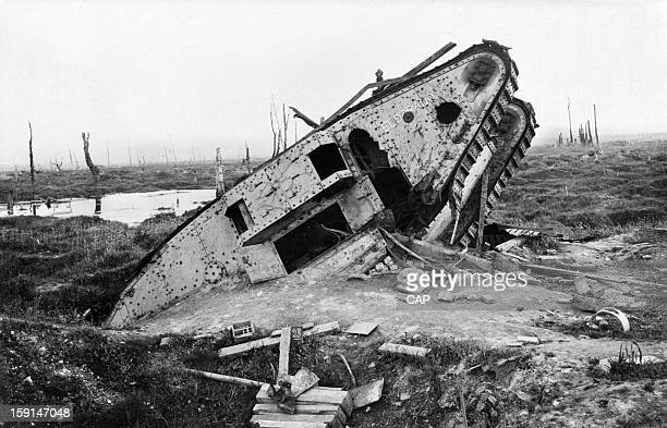 Hulk of a British Mark IV tank after World War I near Arras