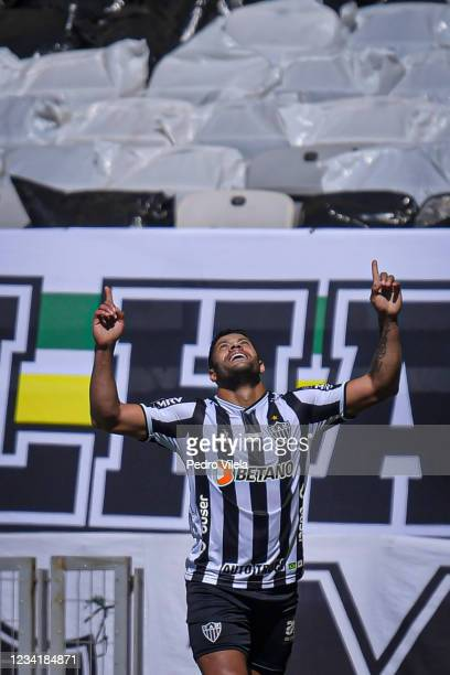 Hulk of Atletico MG celebrates a scored goal against Bahia during a match between Atletico MG and Bahia as part of Brasileirao 2021 at Mineirao...