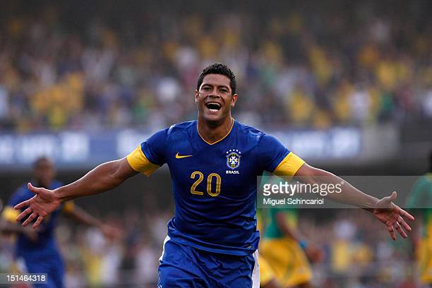 Hulk of Brazil celebrates a scored goal during a FIFA friendly match between Brazil and South Africa at Estadio Morumbí on September 07 2012 in Sao...