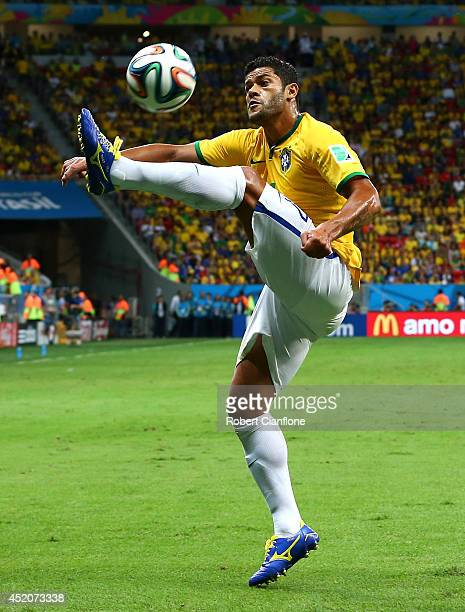 Hulk of Brazil controls the ball during the 2014 FIFA World Cup Brazil Third Place Playoff match between Brazil and the Netherlands at Estadio...