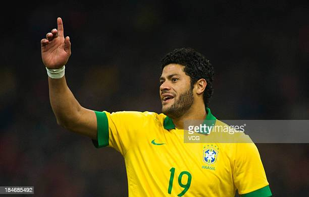 Hulk of Brazil in action during the international friendly match between Brazil and Zambia at Beijing National Stadium on October 15, 2013 in...