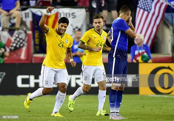 Hulk of Brazil reacts after scoring a goal during an international friendly against the United States at Gillette Stadium on September 8 2015 in...