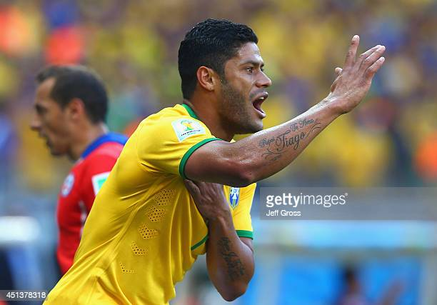 Hulk of Brazil reacts to his goal being disallowed after a hand ball during the 2014 FIFA World Cup Brazil round of 16 match between Brazil and Chile...