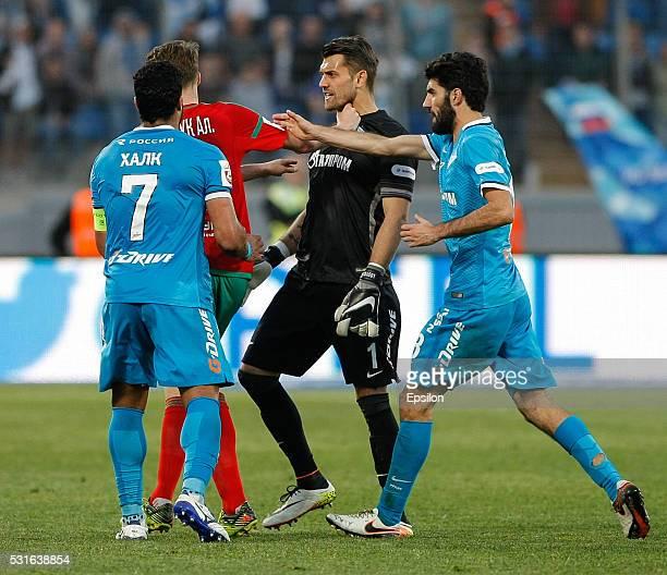 Hulk of FC Zenit St Petersburg Aleksei Miranchuk of FC Lokomotiv Moscow Yury Lodygin of FC Zenit St Petersburg Luis Neto of FC Zenit St Petersburg...