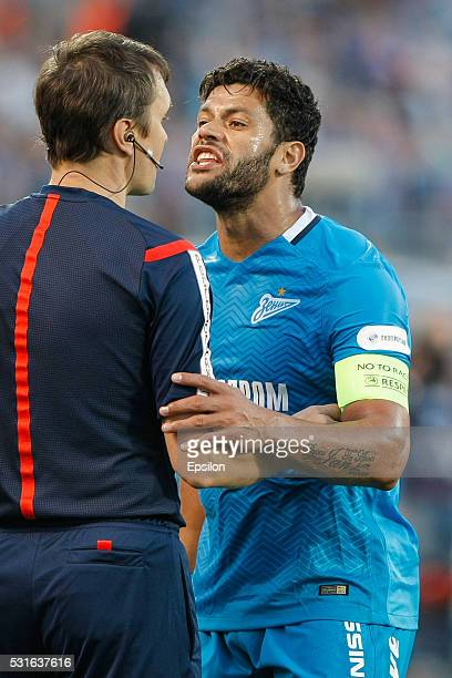 Hulk of FC Zenit St Petersburg argues with the referee during the Russian Football League match between FC Zenit St Petersburg and FC Lokomotiv...