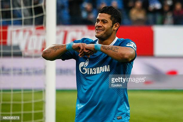 Hulk of FC Zenit St Petersburg celebrates his goal during the Russian Football League Championship match between FC Zenit St Petersburg and FC Krylia...