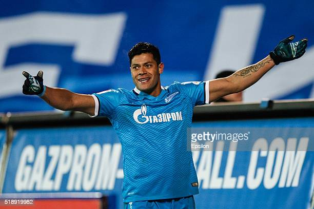 Hulk of FC Zenit St Petersburg celebrates his goal during the Russian Football League match between FC Zenit St Petersburg and PFC CSKA Moscow at...