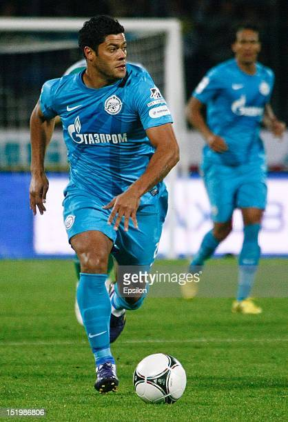 Hulk of FC Zenit St Petersburg runs with the ball during the Russian Premier League match between FC Zenit St Petersburg and FC Terek Grozny at the...