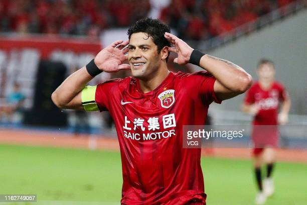 Hulk of Shanghai SIPG celebrates after scoring a goal during the 18th round match of 2019 Chinese Football Association Super League between Shanghai...