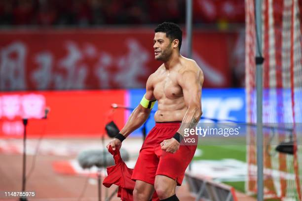 Hulk of Shanghai SIPG celebrates after scoring a goal with a penalty during the 9th round match of 2019 Chinese Football Association Super League...