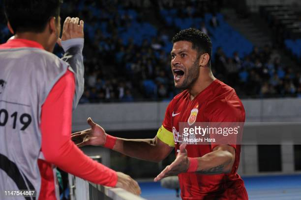 Hulk of Shanghai SIPG celebrates after scoring the second goal of his team during the AFC Champions League Group H match between Kawasaki Frontale...